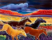 Batik Painting Posters - Running the Open Range Poster by Harriet Peck Taylor