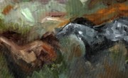 Abstract Horse Paintings - Running Through  Sage by Frances Marino