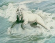 Horse Art Pastels Prints - Running Tide Print by Kim McElroy