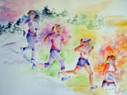 Athletes Painting Prints - Running Toward the Marathon Print by Sandy Ryan