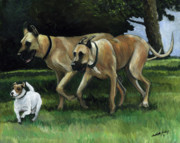 Great Dane Oil Painting Acrylic Prints - Running with the Big Boys Acrylic Print by Charlotte Yealey