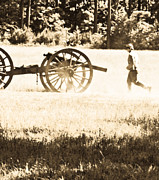 Re-enactments Framed Prints - Running With The Cannon Framed Print by Kim Henderson