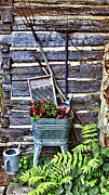 Log Cabin Digital Art Prints - Rural American Graden Scene Print by Linda Phelps