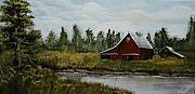 Rurual Paintings - Rural Farm and Pond by Karen Cortese