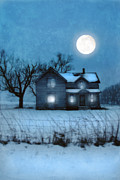 Snowy Evening Prints - Rural Farmhouse Under Full Moon Print by Jill Battaglia