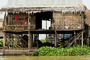 Bamboo House Framed Prints - Rural Fishermen Houses in Cambodia Framed Print by Artur Bogacki