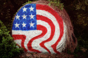 Hay Bale Photos - Rural Flag by Toni Hopper