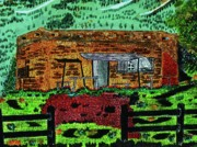Mountain Cabin Mixed Media Prints - Rural Hide Out Print by Adolfo hector Penas alvarado