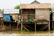 Bamboo House Photos - Rural Houses in Cambodia by Artur Bogacki