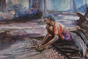 Kerala Paintings - Rural Kerala-coconut leaf plaiting by Asha Sasikumar