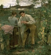 Engagement Painting Prints - Rural Love Print by Jules Bastien Lepage