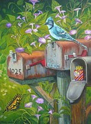 Morning Glories Paintings - Rural Mailboxes with Bird and Butterfly by Vivian Eagleson