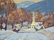 New England Village  Paintings - Rural New England by Len Stomski