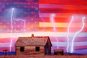 Lightning Bolts Prints - Rural Rustic America Storm Print by James Bo Insogna