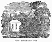 One Room Schoolhouse Prints - RURAL SCHOOLHOUSE, c1840 Print by Granger