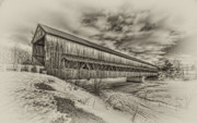 Cloud Mixed Media - Rusagonish covered bridge by Jason Bennett