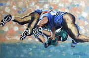 Sports Art Mixed Media Prints - Rush Print by Anthony Falbo
