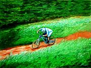 Mountain Bike Paintings - Rush Down by Bali