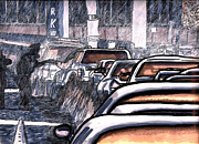 Traffic Drawings Prints - Rush Hour Approach To The Midtown Tunnel NYC Print by Al Goldfarb