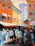 People Pastels Framed Prints - rush hour in Sirmeone  Framed Print by Johannes Baul