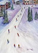 Ski Mixed Media Framed Prints - Rush Hour Framed Print by Loretta Luglio