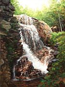 Franconia Notch Paintings - Rush Hour The Flume in NH by Elaine Farmer
