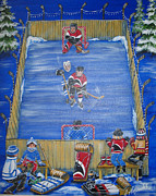 Outdoor Hockey Posters - Rush The Puck Poster by Jill Alexander