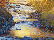 Fall River Scenes Posters - Rushing Gold Poster by Donna Lee Clemenson