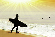 Surf Silhouette Metal Prints - Rushing Surfer Metal Print by Carlos Caetano