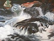 Rushing Water Paintings - Rushing Water by Ellen Ebert