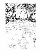 Rocky Mountains Drawings Prints - Rushing Waters Colorado Print by John Lautermilch