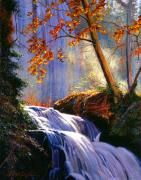 Waterfalls Paintings - Rushing Waters by David Lloyd Glover
