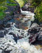 Rocky Paintings - Rushing Waters by John Lautermilch
