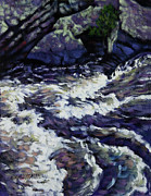 Mountain Stream Paintings - Rushing Waters One by John Lautermilch