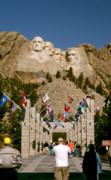 South Dakota Tourism Photos - Rushmore State flags by Mike Oistad