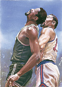 Basketball Sports Framed Prints - Russell and Chamberlain Framed Print by Rich Marks