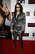 Gray Suit Framed Prints - Russell Brand At Arrivals For Get Him Framed Print by Everett