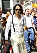 Celebrity Candids - Monday Framed Prints - Russell Brand Walks To The Arthur Movie Framed Print by Everett