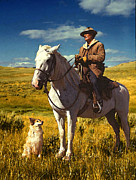 Montana Digital Art - Russell Lees Shepherd and Dog by Timothy Bulone
