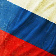 Weathered Prints - Russia flag Print by Setsiri Silapasuwanchai