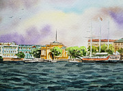 Travel Sketch Prints - Russia Saint Petersburg Neva River Print by Irina Sztukowski