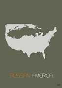 Usa Map Digital Art - Russian America Poster by Irina  March