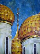 Russian Orthodox Painting Originals - Russian Domes I by Alexanda Davidoff