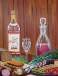 Red Wine Paintings - Russian Happy Hour by Ksusha Scott
