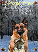 Greetings Card - Russian Holiday German Shepherd and puppy by Eric Kempson