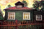 Wooden Mixed Media Metal Prints - Russian House 2 Metal Print by Sarah Loft