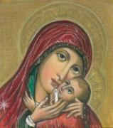 Child Jesus Drawings - Russian Icon  by Linda Nielsen