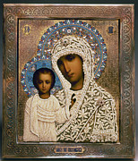 Russian Orthodox Framed Prints - Russian Icon: Mary Framed Print by Granger