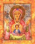 Religious Drawings Originals - Russian Madonna by Suzan  Sommers