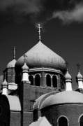 White Russian Metal Prints - Russian Orthodox Church BW Metal Print by Karol  Livote